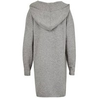 Pale Grey Knit Hooded Midi Cardigan New Look
