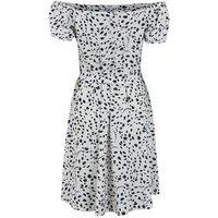 White Spot Tie Waist Bardot Mini Dress New Look