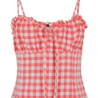 Pink Gingham Strappy Mini Dress New Look