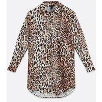 Brown Leopard Print Long Sleeve Shirt Dress New Look