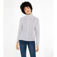 Blue Vanilla Pale Grey Roll Neck Cable Knit Jumper New Look