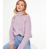 Blue Vanilla Mid Pink Roll Neck Cable Knit Jumper New Look