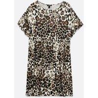 Curves Brown Leopard Print Frill Smock Dress New Look