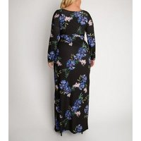 Aarya Curve Black Floral Long Sleeve Wrap Maxi Dress New Look
