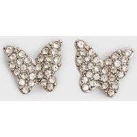 Silver Diamante Butterfly Stud Earrings New Look