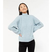 Petite Pale Blue Ribbed Knit Seam Front Jumper New Look