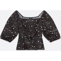 Petite Black Star Square Neck Peplum Blouse New Look