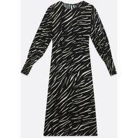 Curves Black Zebra Print Long Puff Sleeve Midi Dress New Look