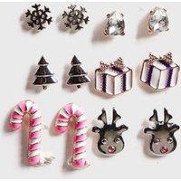 Girls 6 Pack Multicoloured Christmas Stud Earrings New Look