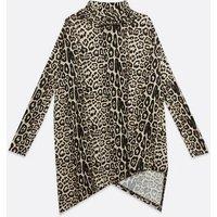 Brown Leopard Print Fine Knit Asymmetric Long Top New Look