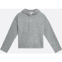 Urban Bliss Grey Ribbed Knit Hoodie New Look