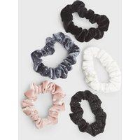 Girls 5 Pack Multicoloured Mixed Glitter Scrunchies New Look