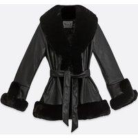 Cameo Rose Leather-Look Faux Fur Trim Belted Jacket New Look