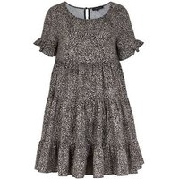 Cameo Rose Black Animal Print Tiered Smock Dress New Look