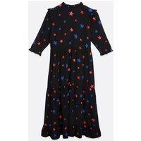Black Star Frill Tiered Midi Dress New Look