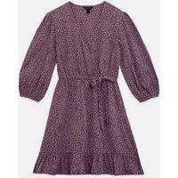 Purple Animal Print Wrap Mini Dress New Look