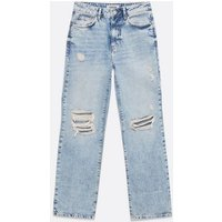 Petite Blue Ripped Full Length Anica Straight Leg Jeans New Look
