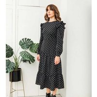 Urban Bliss Black Spot Ruffle Smock Dress New Look