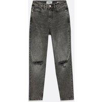 Black Ripped High Waist Tori Mom Jeans New Look