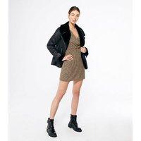 Urban Bliss Light Brown Animal Print Puff Sleeve Dress New Look