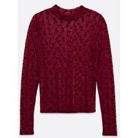 Burgundy Velvet Spot Mesh High Neck Top New Look