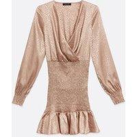 Pale Pink Satin Jacquard Leopard Shirred Dress New Look