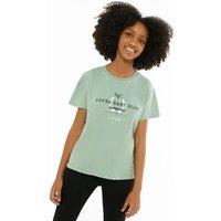 Girls Green NYC Upper East Side Logo T-Shirt New Look