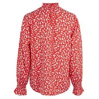 Red Floral Shirred High Neck Blouse New Look