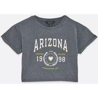 Girls Dark Grey Acid Wash Arizona Logo T-Shirt New Look