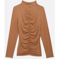 Rust Ribbed Ruched Front High Neck Top New Look