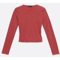 Bright Pink Ribbed Long Sleeve Top New Look