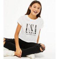 Girls White USA Logo T-Shirt New Look