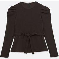 Black Tie Front Puff Sleeve Top New Look