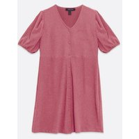 Curves Mid Pink Button Front Mini Dress New Look