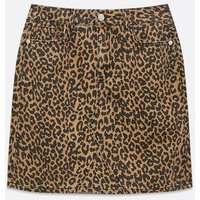 Brown Leopard Print Denim Mini Skirt New Look