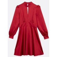 Red Satin Cut Out Skater Dress New Look
