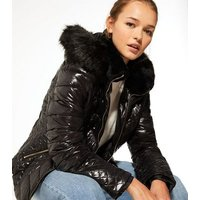 Cameo Rose Black Leather-Look Fitted Puffer Coat New Look