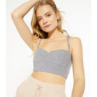 Cameo Rose Light Grey Ribbed Bustier Bralette New Look