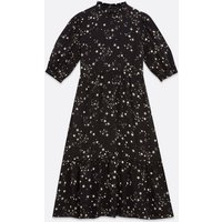 Petite Black Mystic Star Print Midi Dress New Look