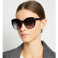 Black Tinted Round Sunglasses New Look
