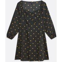 Maternity Black Spot Button Sweetheart Neck Dress New Look