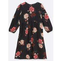Maternity Black Floral Smock Dress New Look