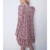 Gini London Multicoloured Floral High Neck Puff Sleeve Dress New Look