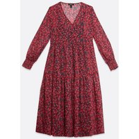 Maternity Red Floral Tiered Midi Smock Dress New Look