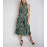 Gini London Green Paisley Print Pleated Midi Dress New Look