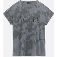 Curves Black Tie Dye J'Adore Slogan T-Shirt New Look