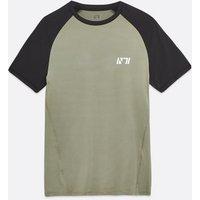 Men's Olive Muscle Fit Raglan Logo T-Shirt New Look