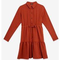 Maternity Rust Tiered Hem Shirt Dress New Look