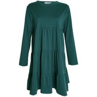 Gini London Green Tiered Long Sleeve Smock Dress New Look