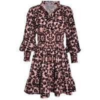 Gini London Pink Leopard Print Shirred Shirt Dress New Look